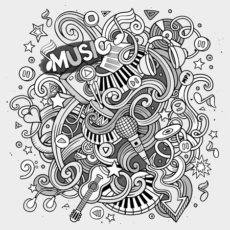 hand beats: Cartoon hand-drawn doodles Musical illustration. Line art detailed, with lots of objects vector background