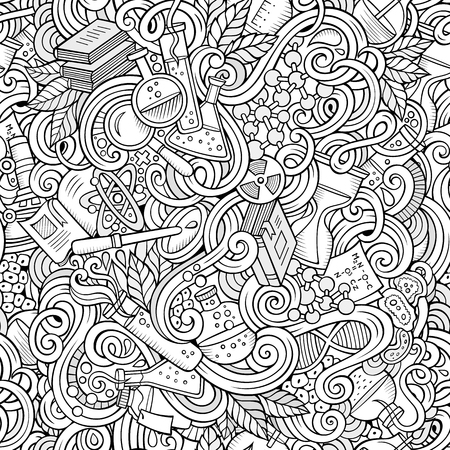 hand drawn: Cartoon hand-drawn science doodles seamless pattern. Line art detailed, with lots of objects vector background