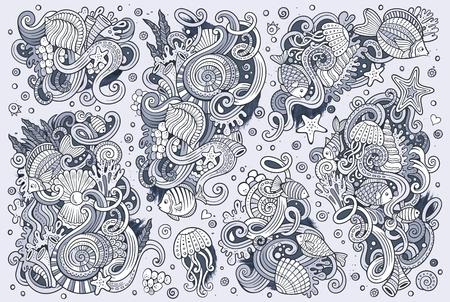 line art: Line art vector hand drawn Doodle cartoon set of marine life objects and symbols