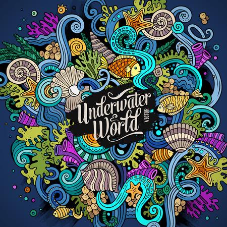 garabatos dibujados a mano de dibujos animados sobre el tema de la vida bajo el agua ilustración. Colorido detallado, con una gran cantidad de objetos de fondo vector