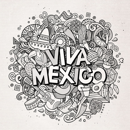 latin american: Viva Mexico sketchy outline festive background. Cartoon vector hand drawn Doodle illustration. Line art detailed design with objects and symbols. All objects are separated