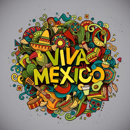 national: Viva México colorida fiesta de fondo. vector de dibujos dibujado a mano ilustración de Doodle. diseño detallado brillantes multicolores con los objetos y símbolos. Todos los objetos están separados