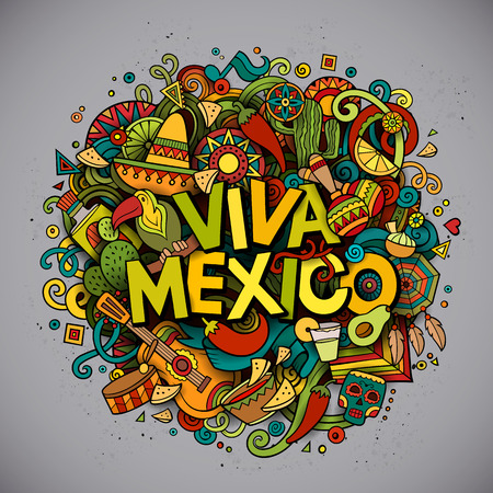national: Viva Mexico colorful festive background. Cartoon vector hand drawn Doodle illustration. Multicolored bright detailed design with objects and symbols. All objects are separated Illustration
