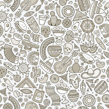latin american: Cartoon vintage hand-drawn latin american, mexican seamless pattern. Lots of symbols, objects and elements. Perfect funny vector background.