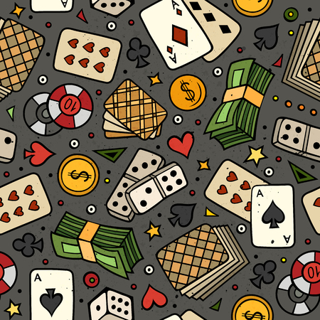 Cartoon hand-drawn casino, games seamless pattern. Lots of symbols, objects and elements. Perfect funny vector background.
