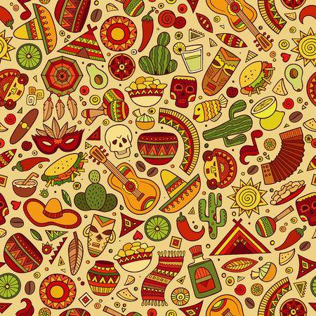 漫画手描きラテン アメリカ、メキシコのシームレスなパターン。シンボル、オブジェクトと要素がたくさん。完璧な面白いベクトルの背景。