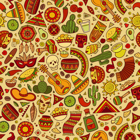 Dibujados a mano de dibujos animados patrón transparente americano latino, mexicano. Un montón de símbolos, objetos y elementos. Perfecto fondo divertido del vector. Foto de archivo - 56256494