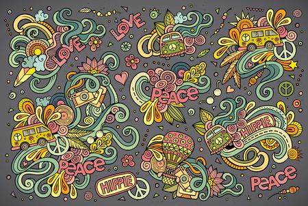 カラフルなベクトルの手描きヒッピー オブジェクトとシンボルの落書き漫画セット  イラスト・ベクター素材