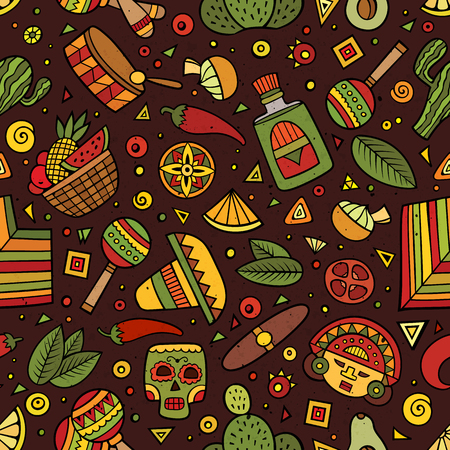 latin american: Cartoon hand-drawn latin american, mexican seamless pattern. Lots of symbols, objects and elements. Perfect funny vector background. Illustration