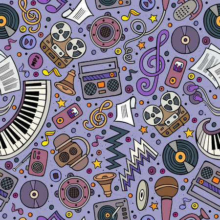 old style: Cartoon hand-drawn musical instruments seamless pattern. Lots of music symbols, objects and elements. Perfect funny multicolored tile vector background. Illustration
