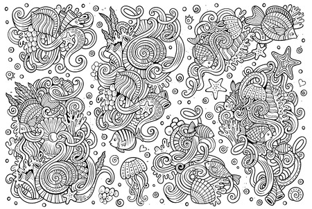 Line art vector hand drawn Doodle cartoon set of marine life objects and symbols Stock Vector - 56256552
