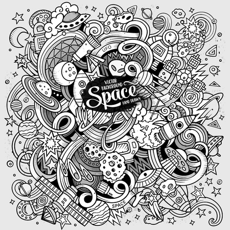 cartoon space: Cartoon hand-drawn doodles Space illustration. Line art detailed, with lots of objects vector background Illustration