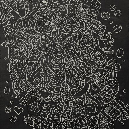 grano de cafe: De dibujos animados garabatos ilustración café. Pizarra detalla, con una gran cantidad de objetos de fondo