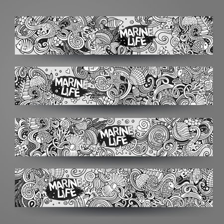 Cartoon  underwater life, marine doodle corporate identity. 4 Horizontal banners design. Templates line art set