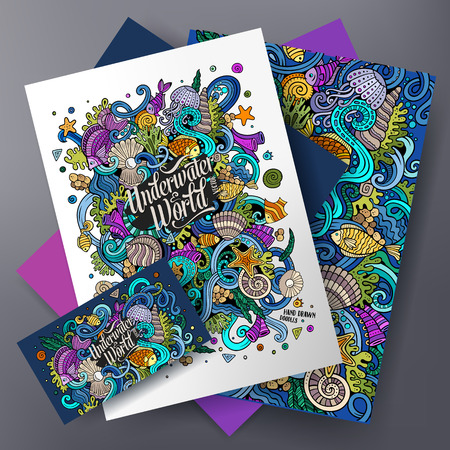 Corporate Identity templates set design with doodles Underwater life theme.