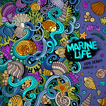 flora fauna: Cartoon  doodles Underwater life illustration. Colorful detailed, with lots of objects background Illustration