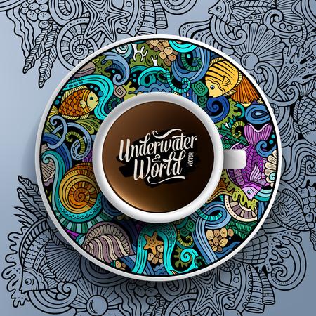 piatto: Illustrazione vettoriale con una tazza di caffè e disegnato a mano scarabocchi vita sottomarina su un piattino e lo sfondo