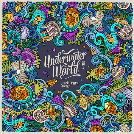 doodling: Cartoon hand-drawn doodles on the subject of Underwater life frame border. Colorful detailed, with lots of objects vector background
