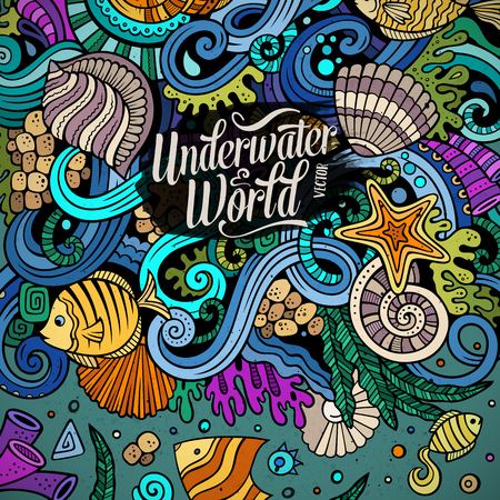 pearl: Cartoon hand-drawn doodles Underwater life illustration. Colorful detailed, with lots of objects vector background