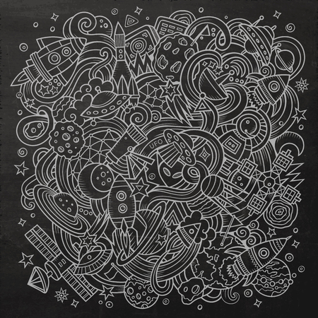 fun background: Cartoon hand-drawn doodles Space illustration. Chalkboard detailed, with lots of objects vector background
