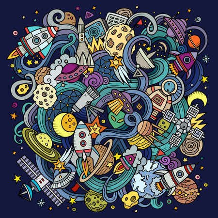 space: Cartoon hand-drawn doodles Space illustration. Colorful detailed, with lots of objects vector background