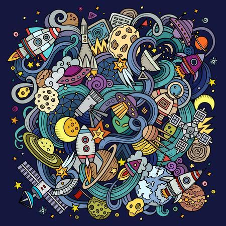 griffonnages Cartoon hand-drawn espace illustration. Colorful détaillée, avec beaucoup d'objets vecteur de fond