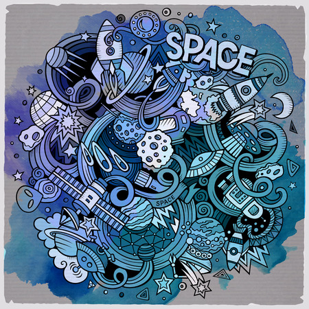 Cartoon hand-drawn doodles Space illustration. Watercolor detailed, with lots of objects vector background Vectores