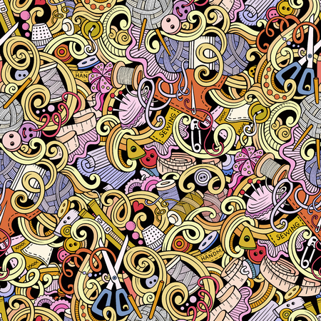 detailed: Cartoon hand-drawn handmade and sewing doodles seamless pattern. Colorful detailed, with lots of objects vector background