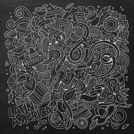 Cartoon hand-drawn doodles Latin American illustration. Chalkboard detailed, with lots of objects vector background