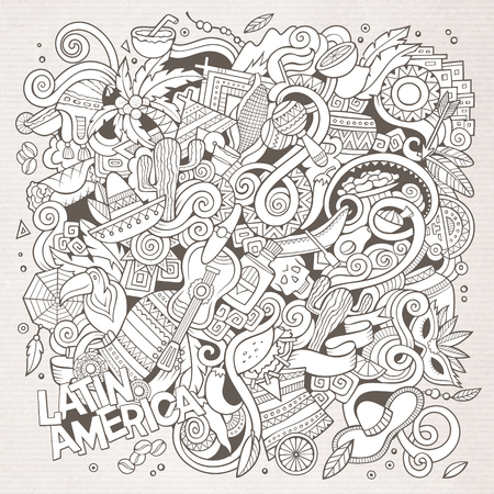 latinoamerica: Cartoon hand-drawn doodles Latin American illustration. Line art detailed, with lots of objects vector background