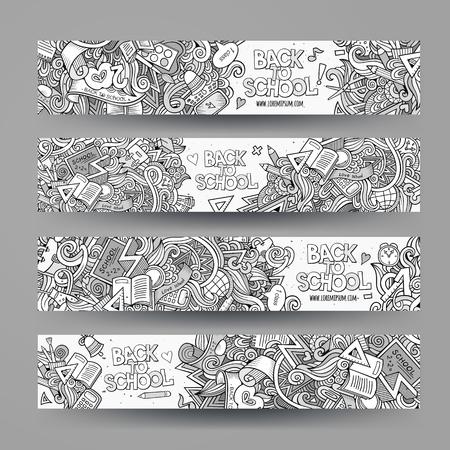 flayer: Cartoon vector hand-drawn school doodle corporate identity. 4 vertical  banners design. Templates line art set