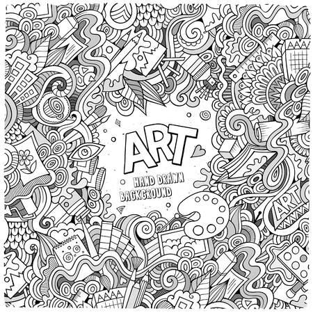 craft supplies: Cartoon vector doodles hand drawn art and craft frame background