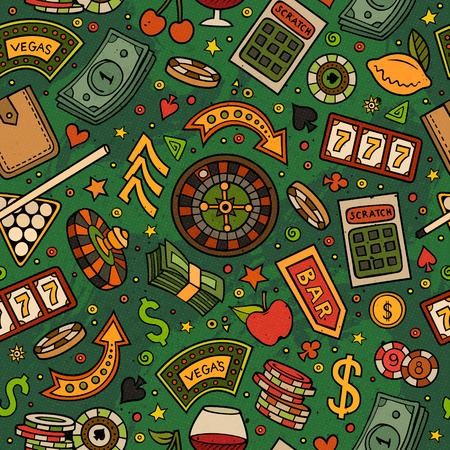 ゲームのシームレスなパターンの漫画手描きカジノ。シンボル、オブジェクトと要素がたくさん。完璧な面白いベクトルの背景。