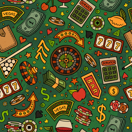 Cartoon hand-drawn casino, games seamless pattern. Lots of symbols, objects and elements. Perfect funny vector background. Banco de Imagens - 56616098