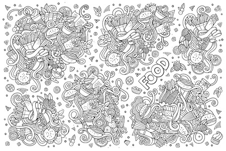 fry: Line art vector hand drawn doodles cartoon set of food objects and symbols