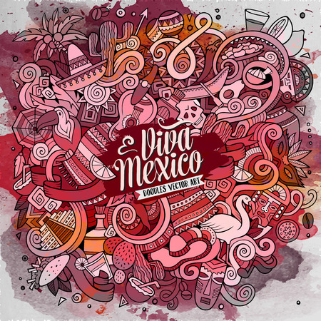 latin american: Cartoon hand-drawn doodles Latin American illustration. Line art watercolor detailed, with lots of objects vector background