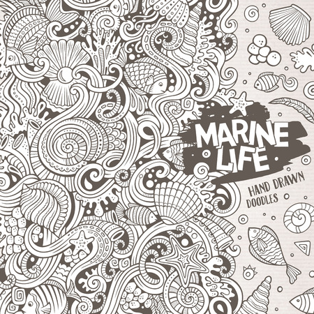 fishing line: Cartoon hand-drawn doodles nautical, marine illustration. Sketchy detailed, with lots of objects vector background Illustration