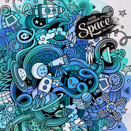 the universe: Cartoon hand-drawn doodles Space illustration. Watercolor detailed, with lots of objects vector background Illustration
