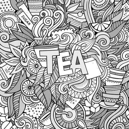 ceylon: Tea hand lettering and doodles elements background. Vector illustration