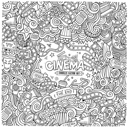 cine: Cartoon vector hand-drawn Cinema Doodle frame. Design background with movie objects and symbols border. Illustration