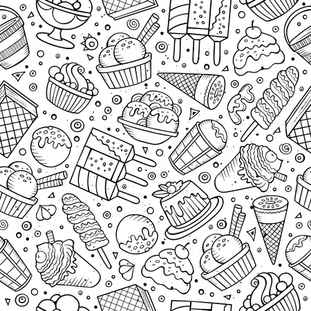 chocolate syrup: Cartoon hand-drawn ice cream doodles seamless pattern. Sketchy detailed, with lots of objects vector background