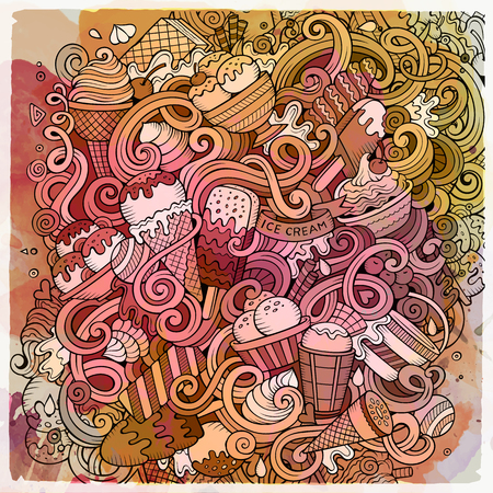 Cartoon hand-drawn doodles Ice Cream illustration. Line art watercolor detailed, with lots of objects vector design background