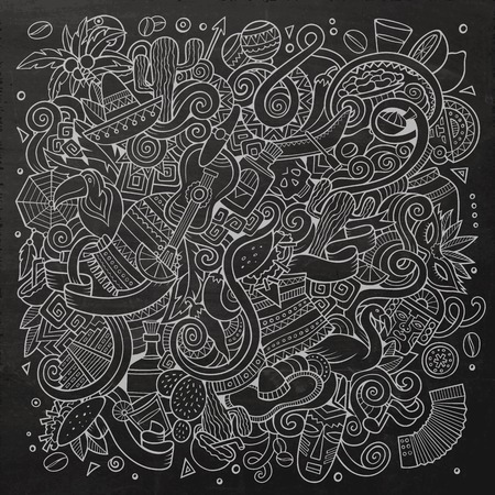 machu picchu: Cartoon hand-drawn doodles Latin American illustration. Chalkboard detailed, with lots of objects vector background