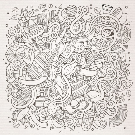 Cartoon hand-drawn doodles Latin American illustration. Line art detailed, with lots of objects vector background