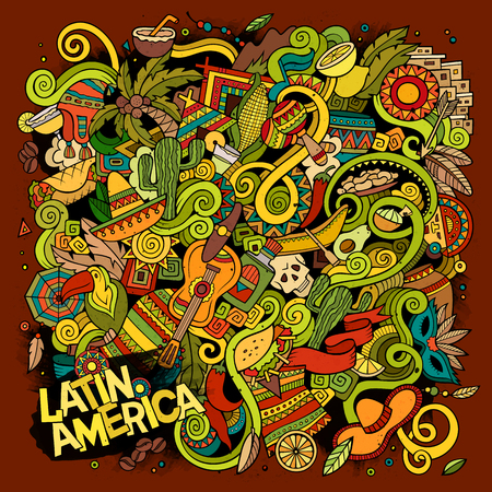 picchu: Cartoon hand-drawn doodles Latin American illustration. detailed, with lots of objects vector background Illustration