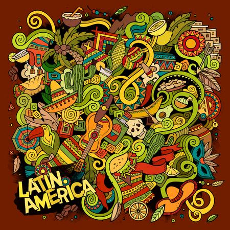 griffonnages dessinés à la main de bande dessinée illustration latino-américaine. détaillé, avec beaucoup d'objets vecteur de fond