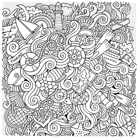 waves ocean: Cartoon hand-drawn doodles nautical, marine illustration. Sketchy detailed, with lots of objects vector background Illustration