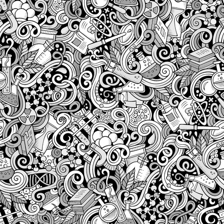 Cartoon hand-drawn science doodles seamless pattern. Line art detailed, with lots of objects vector background