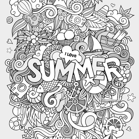 Summer hand lettering and doodles elements. Vector illustration Ilustrace