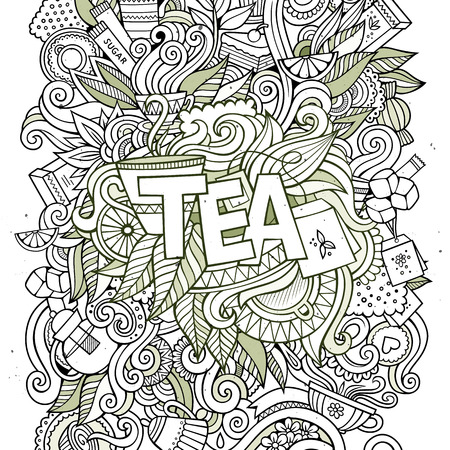 tea plantation: Tea hand lettering and doodles elements background. Vector illustration